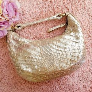 Cole Haan Metallic Gold Woven Leather Hobo Bag